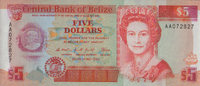 Belize 5 Dollars  unc