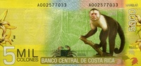 5.000 Colones  Costa-Rica Pick 276 unc/kassenfrisch  17,00 EUR  zzgl. 3,95 EUR Versand