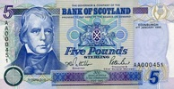 Bank of Scotland 5 Pounds 04.1.1995 unc