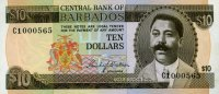 Barbados 10 Dollars ND(1973) unc