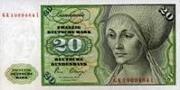 20 Mark 02.1.1980 Deutsche Bundesbank Ros.287a unc/kassenfrisch  32,00 EUR  +  6,50 EUR shipping