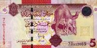 5 Dinars (2009) Libyen Pick 72 unc/kassenfrisch  7,50 EUR  +  6,50 EUR shipping