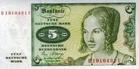 5 Mark 02.1.1980 Deutsche Bundesbank Ros.285a unc/kassenfrisch  8,50 EUR  +  6,50 EUR shipping
