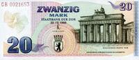 20 Mark 22.12.1989 DDR- Gedenkausgabe -BRANDENBURGERTOR- unc/kassenfrisch  410,00 EUR