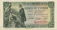 5 Pesetas 15.6.1945 Spanien P.129a/1- 1-  50,00 EUR  zzgl. 4,50 EUR Versand