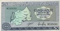 50 Francs 01.1.1976 Rwanda P.7c unc/kassenfrisch  10,50 EUR  zzgl. 3,95 EUR Versand
