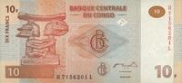 10 Francs 30.6.2003 Congo-Dem.Republik P.93 unc/kassenfrisch  1,10 EUR  +  6,50 EUR shipping