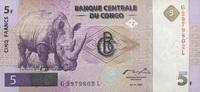 5 Francs 01.11.1997 Congo-Dem.Republik P.86A unc/kassenfrisch  20,00 EUR  zzgl. 3,95 EUR Versand