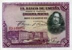 50 Pestas 15.8.1928 Spanien P.75b unc/kassenfrisch  24,00 EUR  +  6,50 EUR shipping