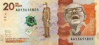 20.000 Pesos 19.8.2015 Kolumbien - New Design - 2015 unc/kassenfrisch  16,50 EUR  zzgl. 3,95 EUR Versand
