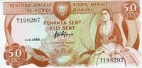 50 Cents 01.11.1989 Zypern P.52 unc/kassenfrisch  14,50 EUR  zzgl. 3,95 EUR Versand