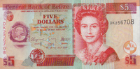 5 Dollars  Belize Pick 67d unc  7,50 EUR