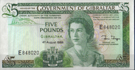 Gibraltar 5 Pounds 1988 unc