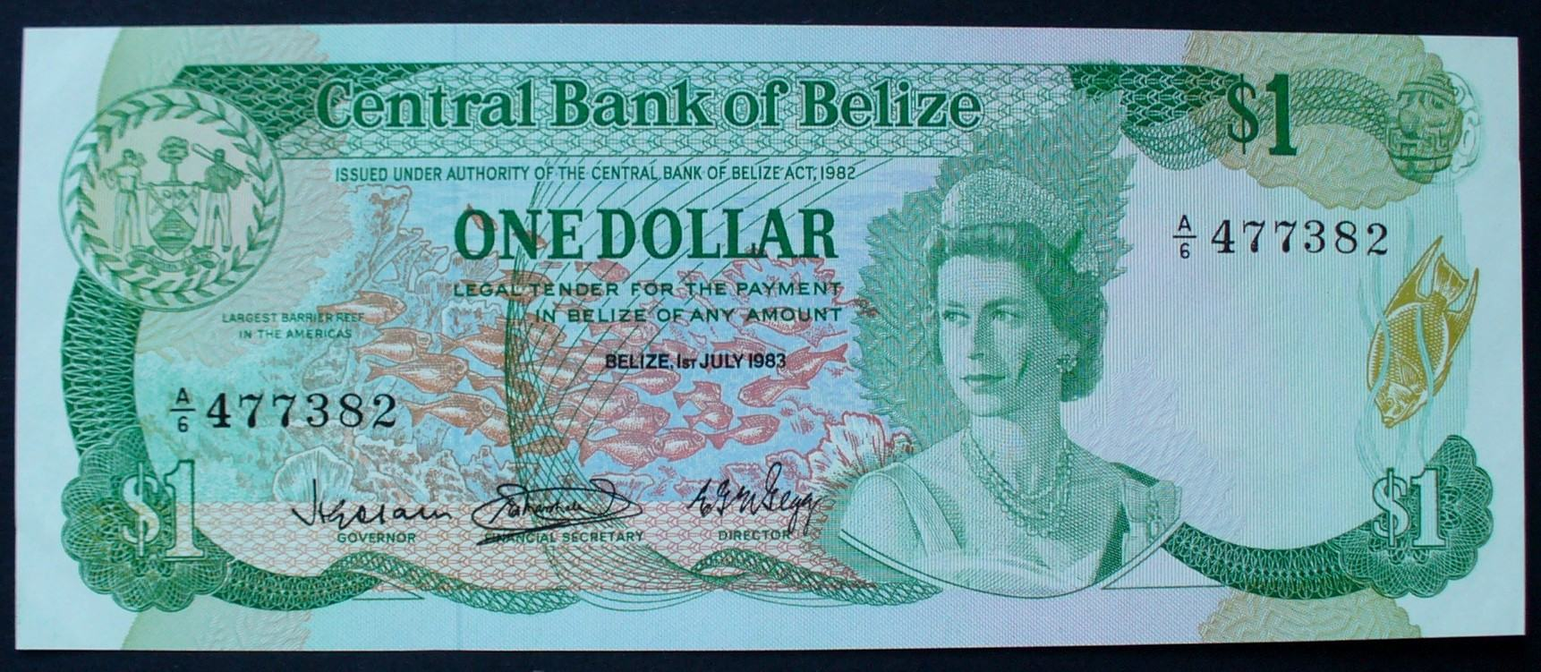 1 Dollar 1.7.1983 Belize P. 43 / Serie A/6 477383 UNC