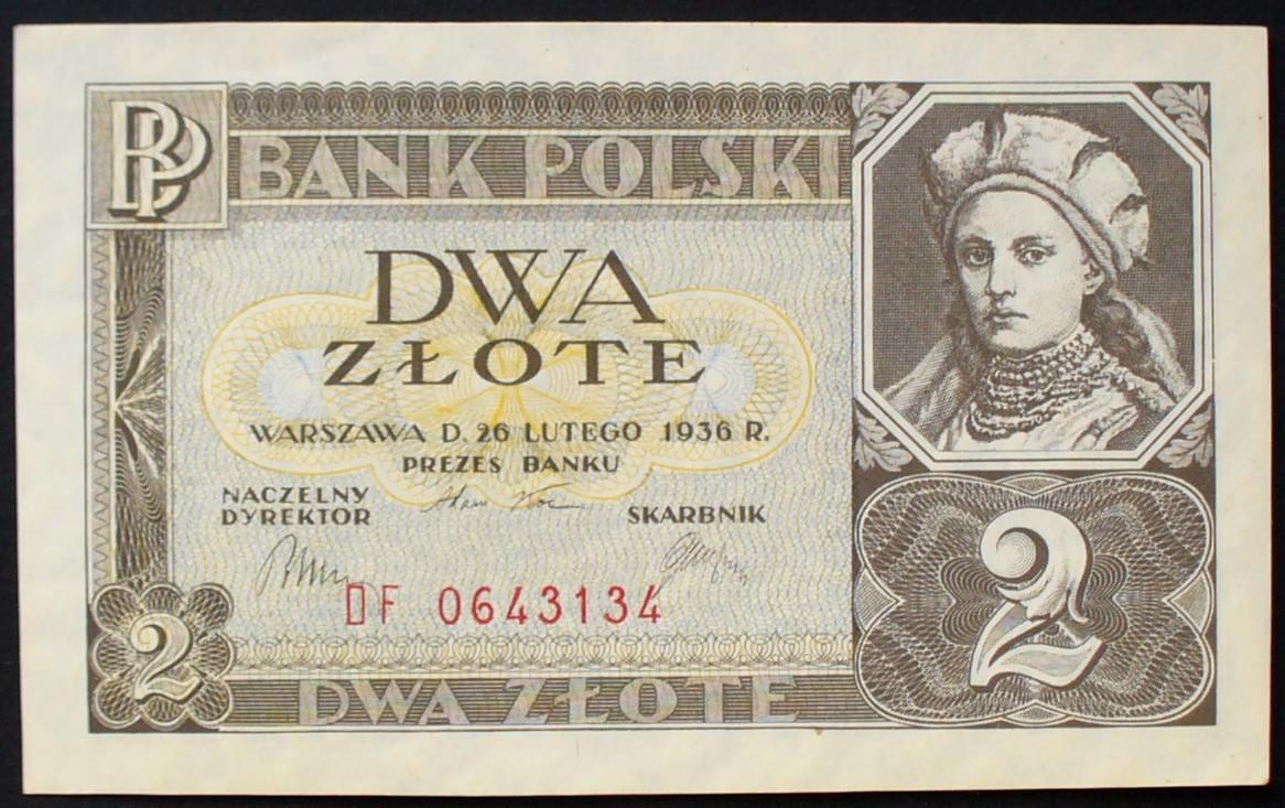 2 Zloty 26.2.1936 Polen P. 76 a kfr