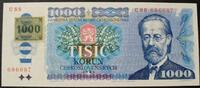 1.000 Korun Marke 1993 Tschech. Republik P. 3 a / Serie C88 686087 / Ma... 110,00 EUR  zzgl. 6,00 EUR Versand