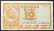 Norwegen 10 Kroner 1963 kfr P. 31 c