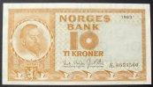 10 Kroner 1963 Norwegen P. 31 c kfr  50,00 EUR  zzgl. 6,00 EUR Versand
