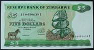 5 Dollars 1994 Zimbabwe P. 2 e / Sign.3 / Wmk: Type B kfr  38,00 EUR  zzgl. 6,00 EUR Versand