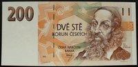 200 Korun 1993 Tschech. Republik P. 6 a / Sicherheitsfaden mit Kcs kfr  40,00 EUR  zzgl. 6,00 EUR Versand