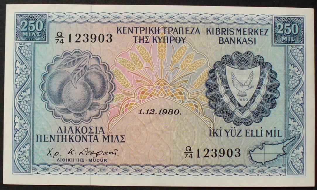 250 Mils 1.12.1980 Zypern P. 41 c kfr