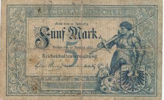 5 Mark, 1882 Deutsches Reich,Kaiserreich, Ro.6 stark gebraucht IV,