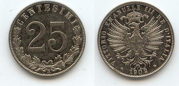 25 Centesimi 1902 Italien vz