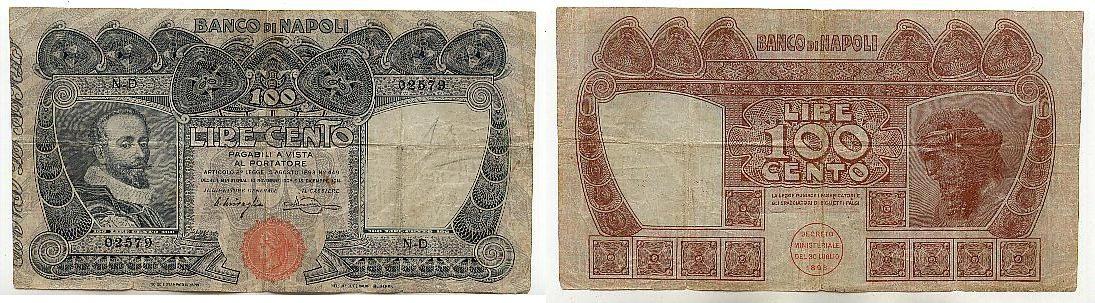 100 Lire 13.Dezember 1914 Italien, Banco Di Napoli stärker gebraucht IV, Nadellöcher