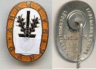 Hersteller Paulmann&Grone, Lüdenscheid, 1933-1945 Deutsches Reich Anstecknadel, Arbeitsdienst, Arbeitsdank,31x15mm, Hoheitszeichen abgedeckt leicht gebraucht