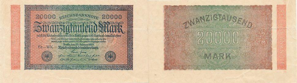 20ooo Mark 20.Februar 1923 Deutsches Reich Ro.84b, Wz.Ringe FZ WK ohne KN, Rarität gebraucht III-