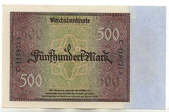 500 Mark 27.März 1922 Deutsches Reich Ro.70 fast Kassenfrisch I-
