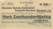 Deutsches Reich, Sachsen 250 Mark 1922 stark gebraucht IV- Ebersbach 99,99 EUR 