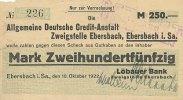250 Mark 1922 Deutsches Reich, Sachsen Ebersbach stark gebraucht IV-  99,99 EUR  Excl. 7,00 EUR Verzending