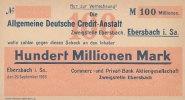 100 Mio.Mark 1923 Deutsches Reich, Sachsen Ebersbach gebraucht III, Ein... 99,99 EUR  Excl. 7,00 EUR Verzending