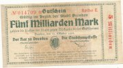 Deutsches Reich, Sachsen, 5 Mrd.Mark Dresden Stadt,