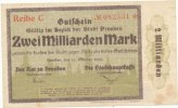 Deutsches Reich, Sachsen, 2 Mrd.Mark Dresden Stadt,