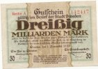 Deutsches Reich, Sachsen, 30 Mrd.Mark Dresden Stadt,