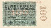 100 Mio.Mark 1923 Deutsches Reich, Ro.106m Wz.Hakensterne KN 8 stellig ... 149,99 EUR  Excl. 10,00 EUR Verzending