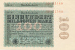 100 Mio.Mark 1923 Deutsches Reich, Inflation, 100 Mio.Mark Ro.106m  Fir... 200,00 EUR  Excl. 10,00 EUR Verzending