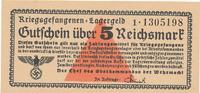 5 Reichsmark 1939-1945 Deutschland,Drittes Reich, Kriegsgefangenenlager... 39,99 EUR  Excl. 7,00 EUR Verzending