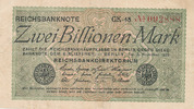 2 Billionen Mark 1923 Deutsches Reich, Weimarer Republik, Ro.132a Wz.Ha... 119,99 EUR  Excl. 10,00 EUR Verzending