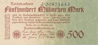 500 Milliarden Mark 1923 Deutsches Reich, Weimarer Republik, Ro.124b KN... 39,99 EUR  Excl. 7,00 EUR Verzending