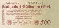 500 Milliarden Mark 1923 Deutsches Reich, Weimarer Republik, Ro.124b KN... 29,99 EUR  Excl. 4,00 EUR Verzending