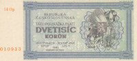 2000 Kronen 1945 Tschechoslowakei mit Perforation SPECIMEN, fast Kassen... 29,99 EUR  Excl. 4,00 EUR Verzending