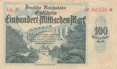 100 Milliarden Mark 1923 Deutsches Reich,Weimarer Republik, Reichbahndi... 6,99 EUR  zzgl. 1,80 EUR Versand