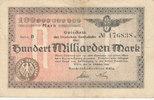 100 Milliarden Mark 1923 Deutsches Reich,Weimarer Republik, Reichbahndi... 9,99 EUR  zzgl. 1,80 EUR Versand
