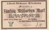50 Milliarden Mark 1923 Deutsches Reich,Weimarer Republik, Lübeck-Büche... 69,99 EUR  zzgl. 4,00 EUR Versand