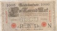 1000 Mark 1910 Deutsches Reich, Kaiserreich, Ro.45a KN 6stellig Udr.Bst... 29,99 EUR  Excl. 4,00 EUR Verzending