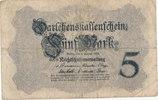 5 Mark 1914 Deutsches Reich, Kaiserreich, Ro.48c KN 8stellig, stark geb... 1,99 EUR  zzgl. 1,80 EUR Versand
