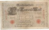 1000 Mark 1908 Deutsches Reich,Kaiserreich,  stark gebraucht IV+,  29,99 EUR  Excl. 4,00 EUR Verzending